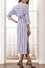 Load image into Gallery viewer, Fashion Stripe Long Sleeves Maxi Dress