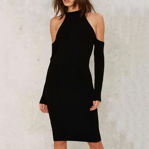 Open Shoulder  Cutout  Plain Bodycon Dresses