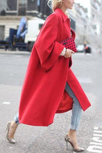 Load image into Gallery viewer, Elegant Lapel Plain Loose Red Woolen Long Coat