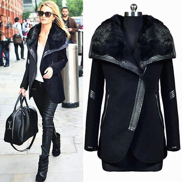 Winter Woolen Coat Warm Big Fur Collar Outwears Zipper Overcoats