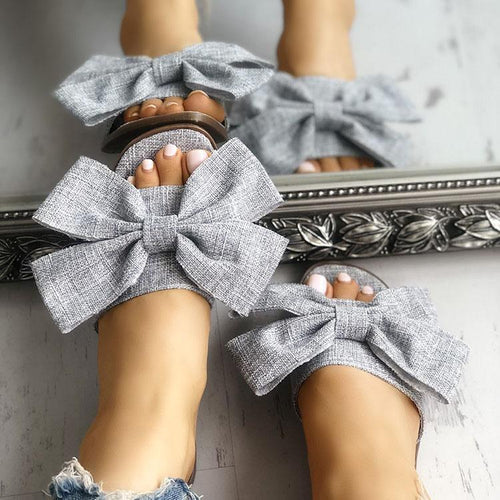 Fashion Flax Bow-Knot Flat Sandals