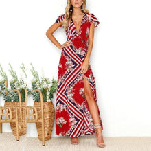 Load image into Gallery viewer, Red Random Floral Print V Neck Maxi Dress