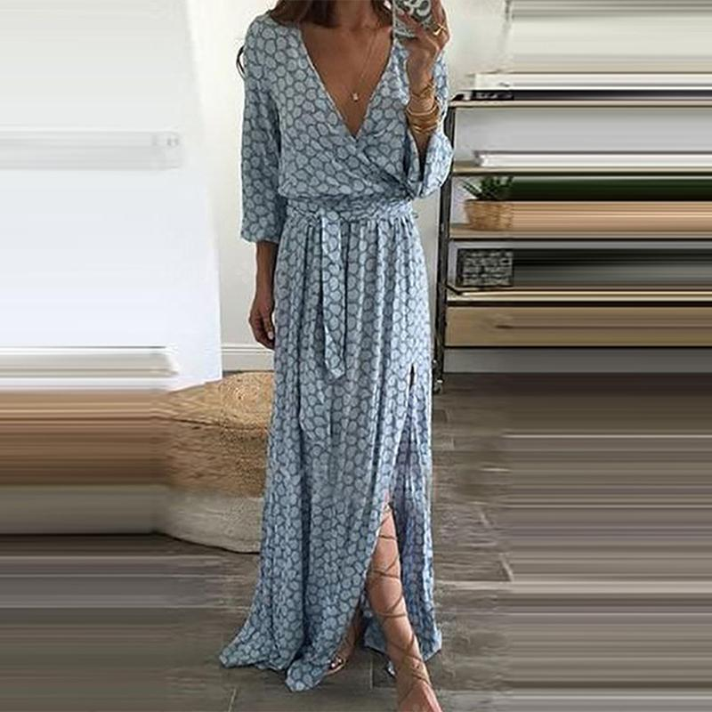 Fashion V-Neck  Plain Vintage Maxi Dresses