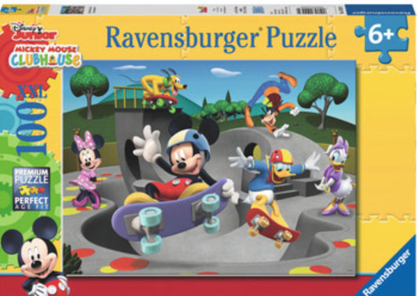 Ravensburger Puzzle - 100 pcs - XXL - Mickey & Minnie at the Skate Park