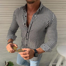 Load image into Gallery viewer, Casual Vertical Striped Long Sleeves Shirt