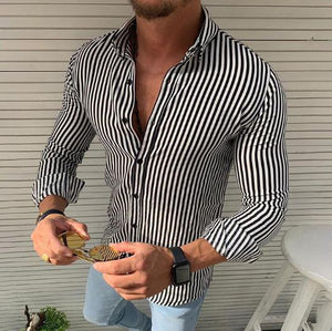 Casual Vertical Striped Long Sleeves Shirt