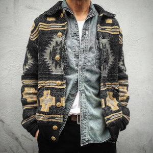 Man's Ethnic Autumn Single-Breasted Cardigan