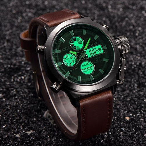 Men's Belt Quartz Digital LED Watch