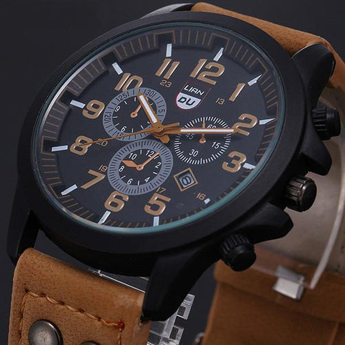 Fashion Gold Quartz Watch Mens Military Leather Strap Watches