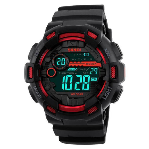 Mens Sports Watches 50M Waterproof Back Light LED Digital Watch