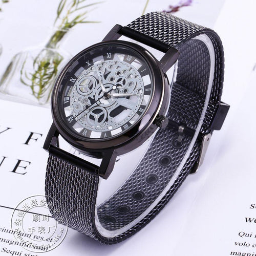 Metallic Mens Fashion Skeleton Watch Quartz Watch