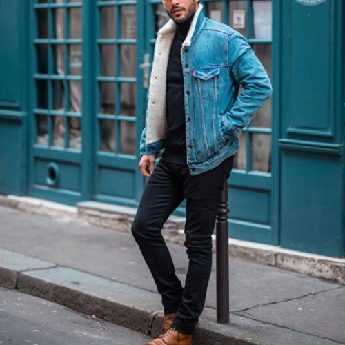 Fashion Mens Stylish Casual Denim Jacket