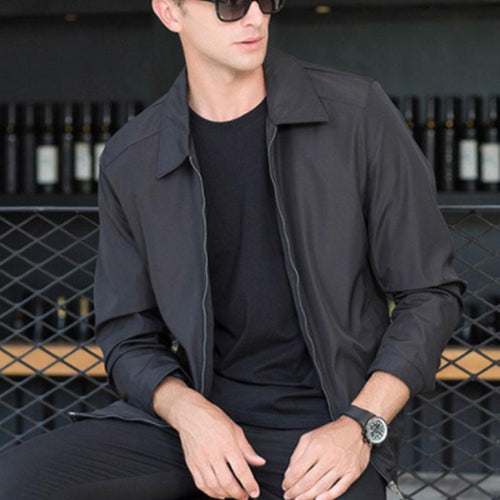 Mens Casual Stand Collar Cotton Jacket