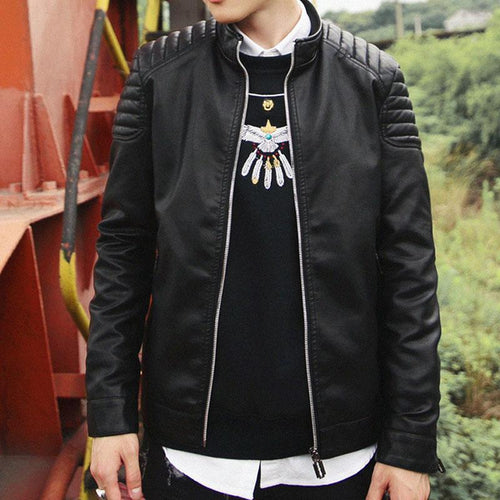 Mens PU Leather Punk Jacket