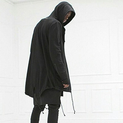 Mens Sweater Long Hooded Cloak Casual Jacket
