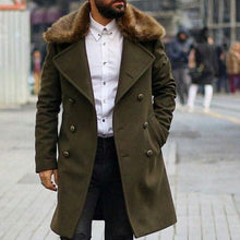 Load image into Gallery viewer, Mens Chic Plain Lapel Collar Button Thicken Woolen Long Coat