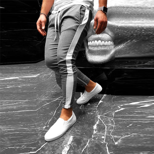 Men's Fashion Check Printed Drawstring Slim Pencil Pants