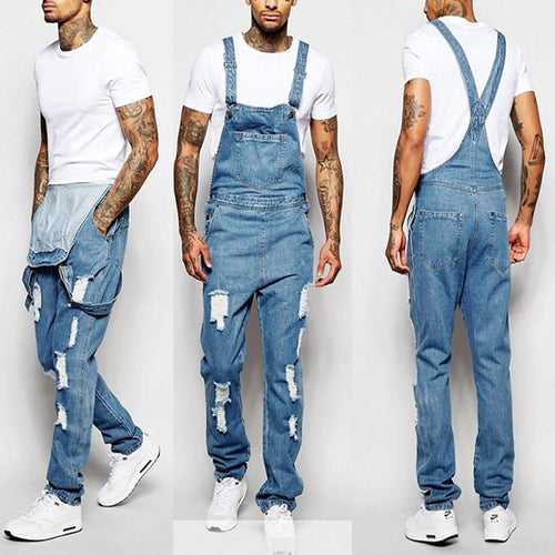 Fashion Men's Sling Torn Jeans Jumpsuits