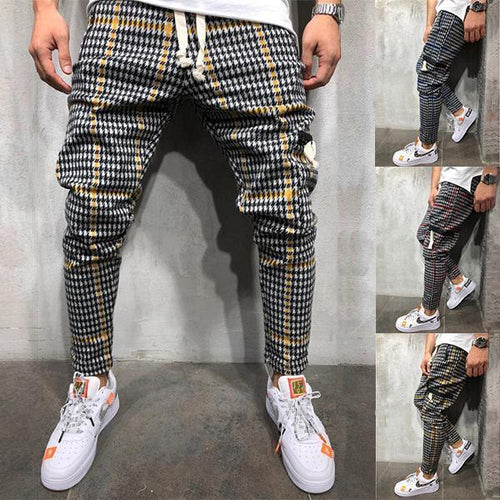 Men's Fashion Casual Street Style Plaid Casual Loose Pants