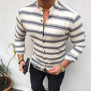 Commuting Stripe Single-Breasted Stand Collar Shirt