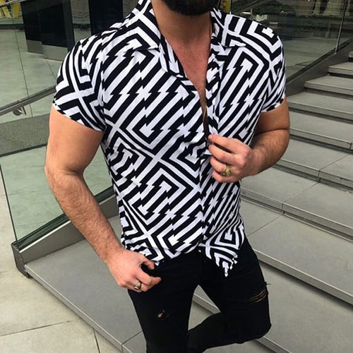 Individuality Irregular Geometric Short Sleeve Shirt