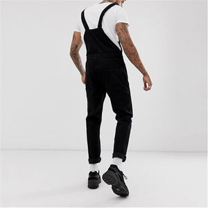 Men's Straight Ripped Denim Strap Jumpsuit