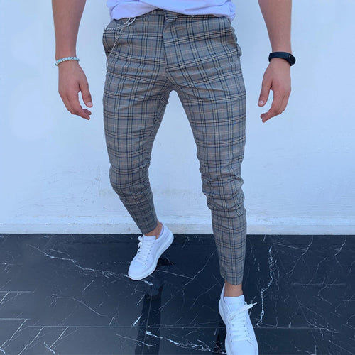Men's High-Waist Lattice Printing Casual Pencil Pants