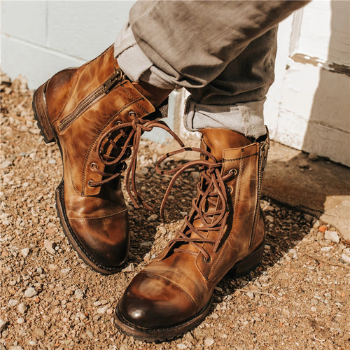 Men's Fashion Side Zipper Lace Up Boots