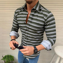 Load image into Gallery viewer, Men's Casual Lapel Single-Breasted Striped Shirt