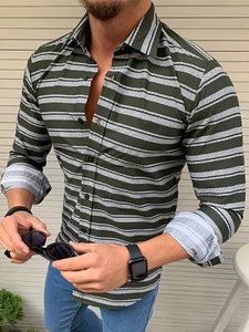 Men's Casual Lapel Single-Breasted Striped Shirt