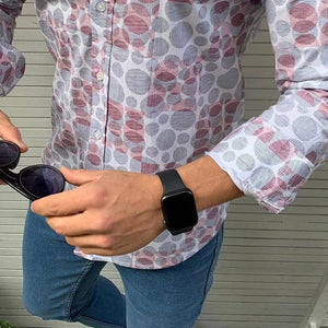 Men's Casual Lapel Single Buckle Printed Shirt