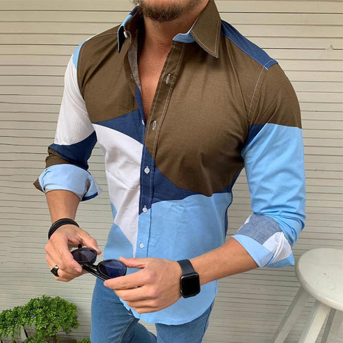 Casual Men's Lapel Single Buckle Splicing Shirt