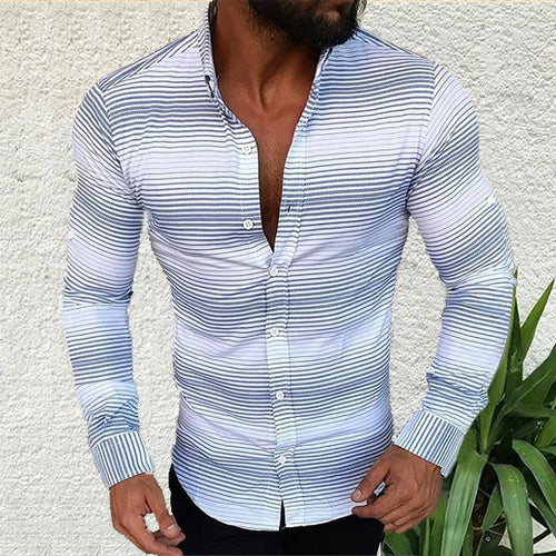 Men's Lapel Long Sleeved Fine Striped Casual Shirt