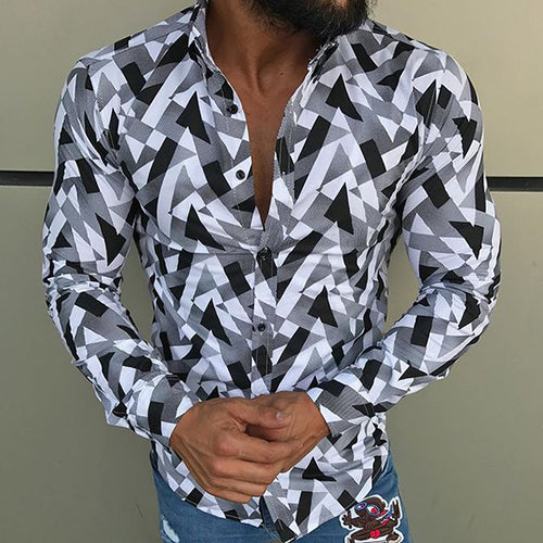 Men's Lapel Single Row Buckle Long-Sleeved Printed Shirt