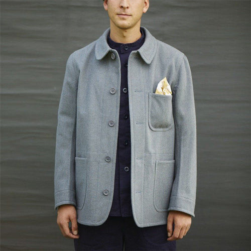 Men's Solid Color Wool Jacket