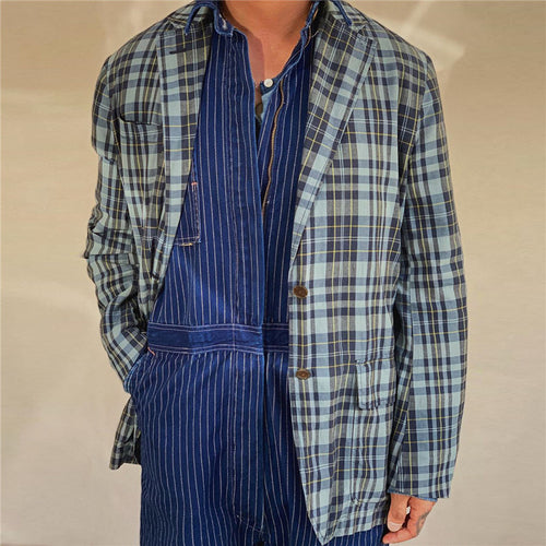 Men's Loose Plaid Print Blazer