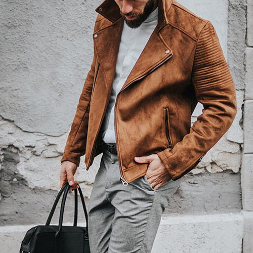 Stylish and handsome suede motorcycle jacket