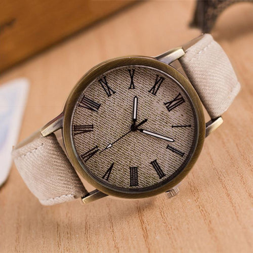 Fashion Mens Simple Denim Roman Quartz Watch
