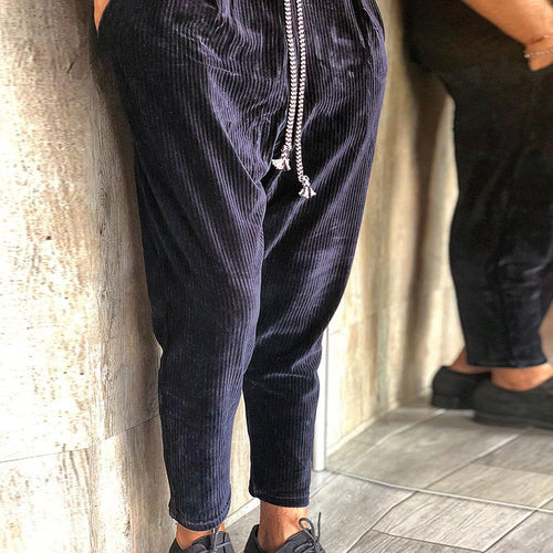 Casual striped color matching loose men's pant