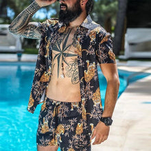 Load image into Gallery viewer, Fashion Men's Beach Holiday Short Sleeve Print Top Shorts Set