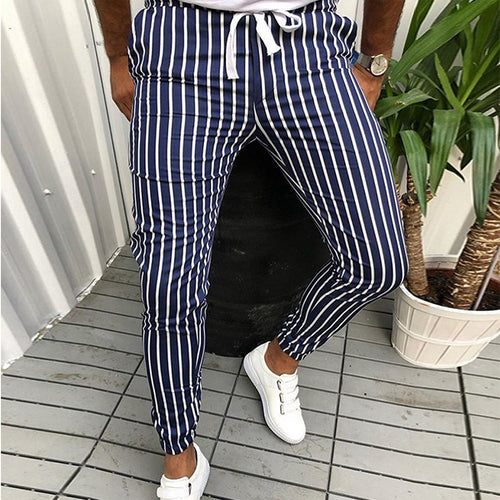 Men's Fashion Colorblock Striped Slim Casual Pants
