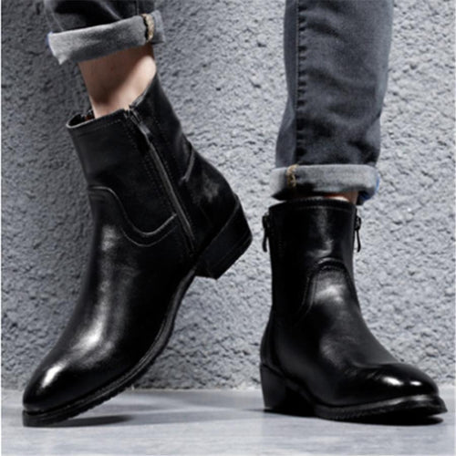 Men's high-top pointed Martin boots