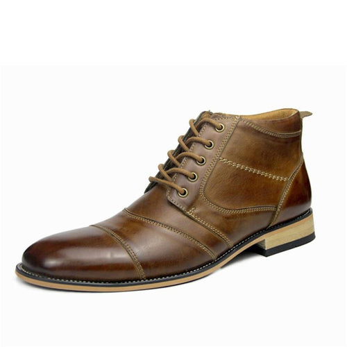 Men's Plush Lace-Up British Style Booties