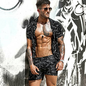 Men's Short Sleeve Printed Shirt And Shorts