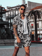 Load image into Gallery viewer, Fashion Men's Printed Shirt Shorts Suits