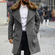 Load image into Gallery viewer, Chic Plain Lapel Collar Button Thicken Woolen Long Coat