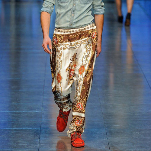 Modern Fashion Printed Splicing Pants