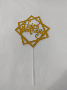 Happy Birthday Paper Cake Topper - Gold Squares