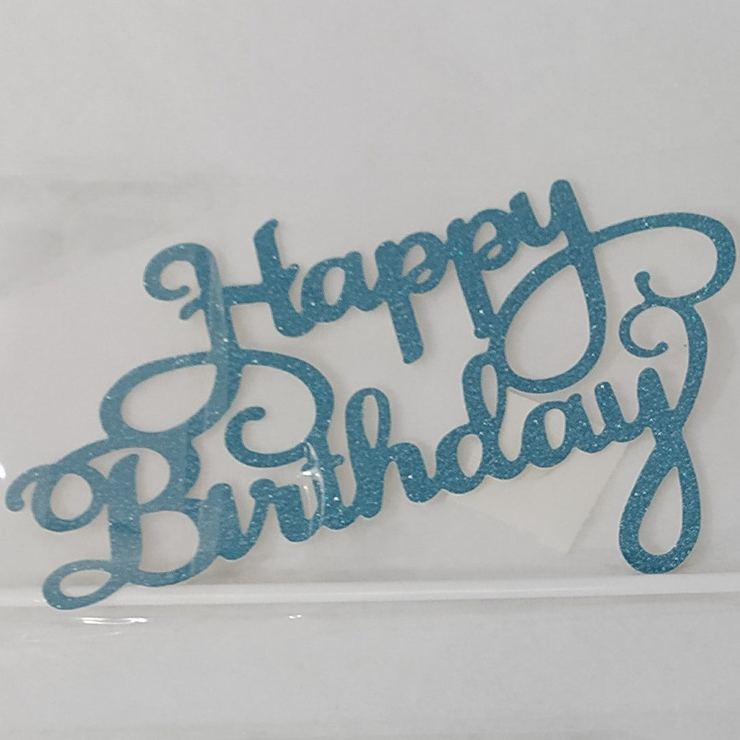 Happy Birthday Paper Cake Topper - Blue