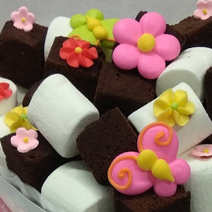 Brownies & Marsh with icing flowers
